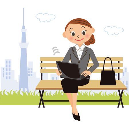 Female employee who operates PC