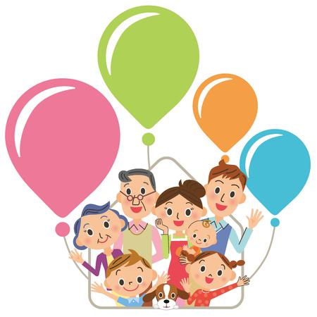 Three generation family house balloons Stock Illustratie