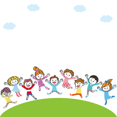 Kids jumping on the hill Illustration