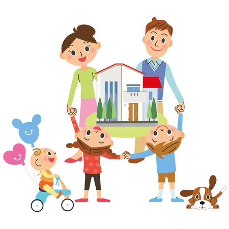 Family surround the house Stock Vector - 121646770