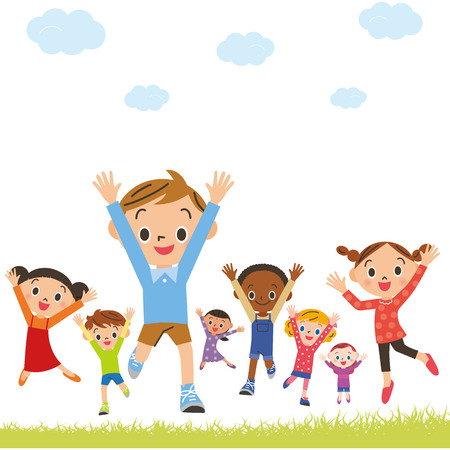 Cheerful children jumping 向量圖像