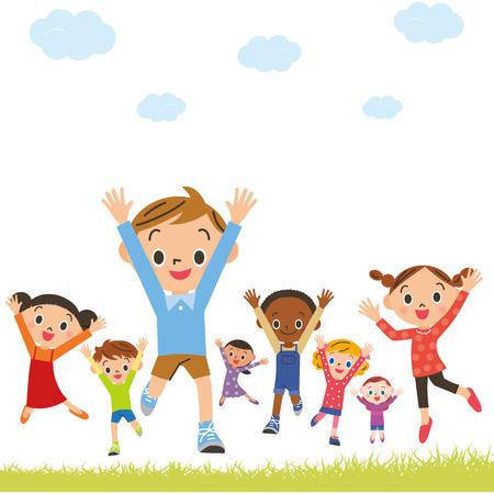 Cheerful children jumping Illustration