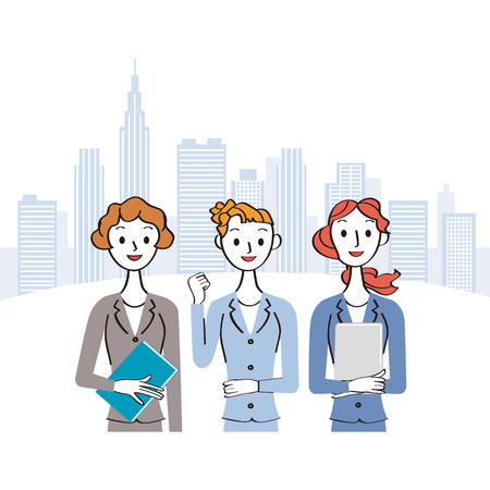 Female office worker and office building street Ilustração