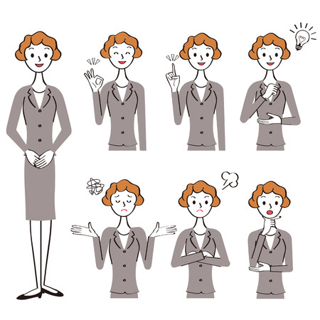 Various poses set of female office worker Ilustrace
