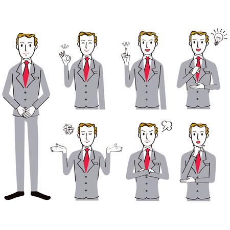 Various poses set of male office worker