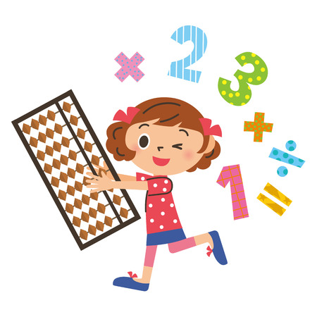 Girl learning abacus