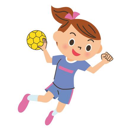 Niño, jugar al balonmano
