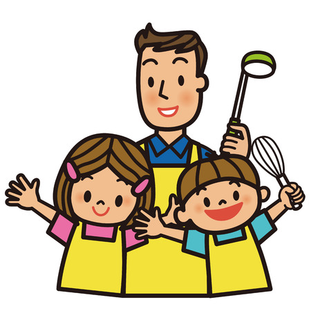 Father and children cooking