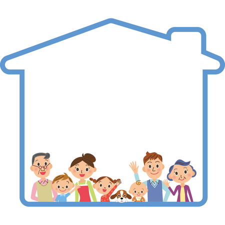 Three generation family and house frame Banque d'images - 126274691