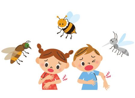 Niños apuñalados por insectos Ilustración de vector