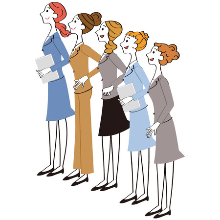 Female company employee group