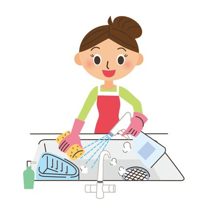 Housewife disinfecting the kitchen Stock Vector - 126267719