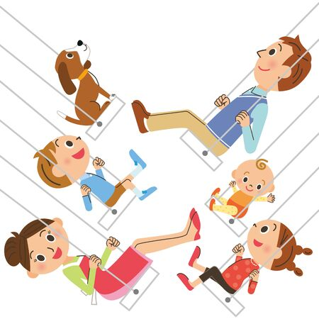 A good family rides on the swing Иллюстрация