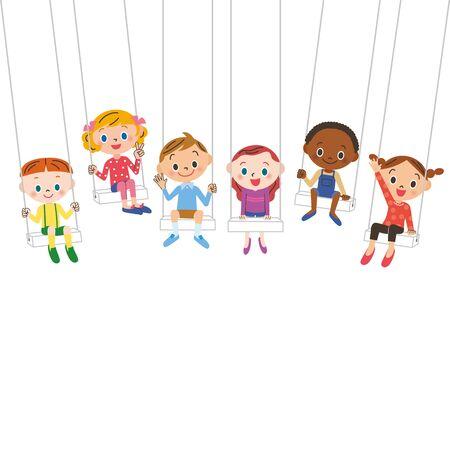 Children on a swing 矢量图像