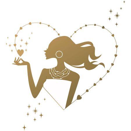 Woman silhouette heart icon