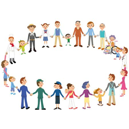 Many people in the community who make a circle and connect their hands