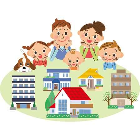 Family looking for real estate Stock Illustratie