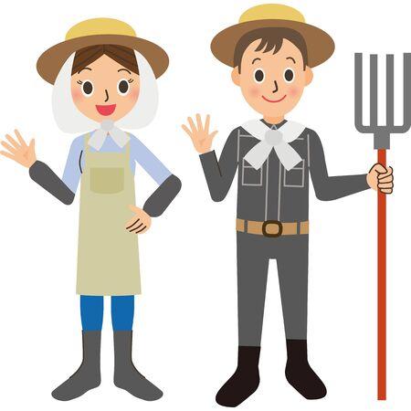 Farmer couple work