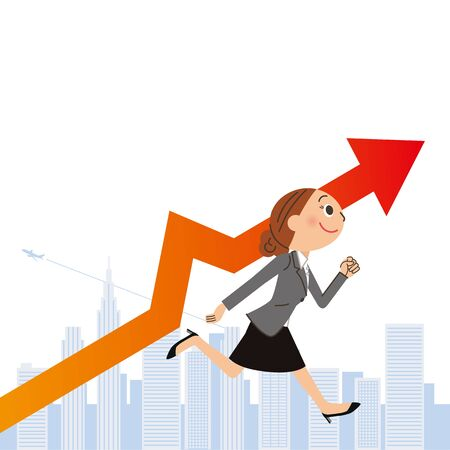 Sales increase for female employees 일러스트