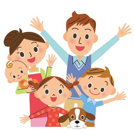Fröhliche enge Familie
