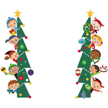 Christmas tree and children's frame Banco de Imagens - 131517339