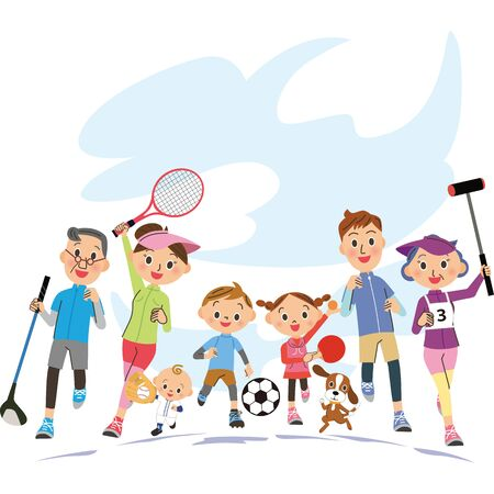 Familia de tres generaciones practicando deportes bajo el cielo.