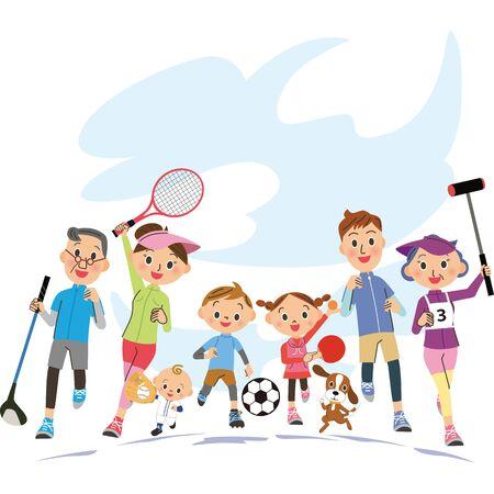 Famille de trois générations faisant du sport sous le ciel