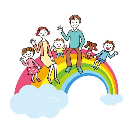 Happy family sitting on rainbow