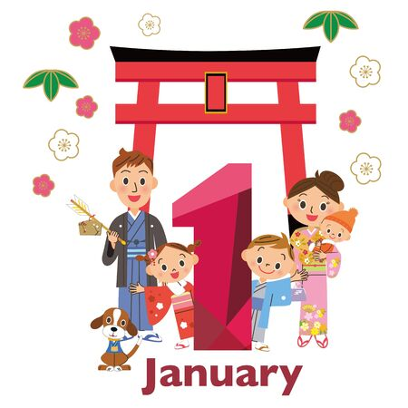January Three generation family Torii New Year