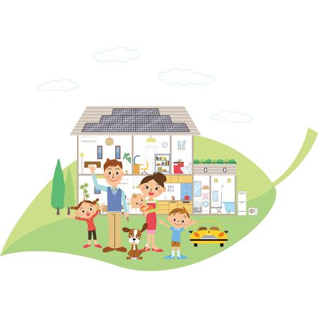 Eco-power house and family on leaves