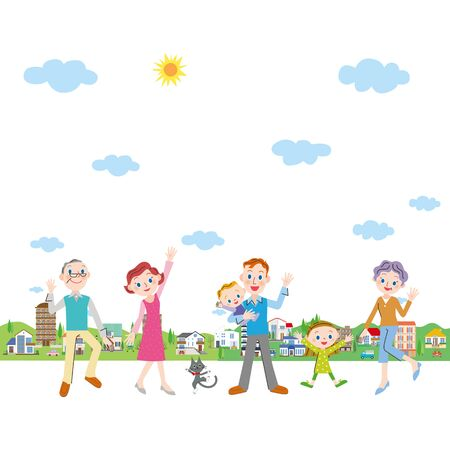 Happy cityscape and three generation family Ilustração