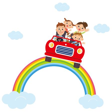 Drive along the rainbow and make friends  イラスト・ベクター素材