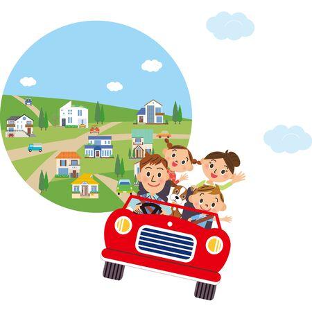Cityscape Drive Family Illustration