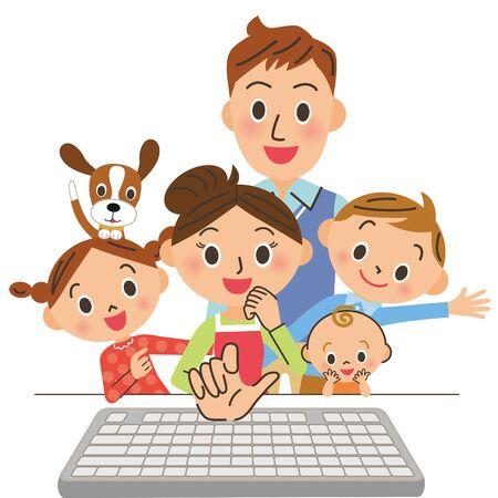 Mom operates the computer Ilustração