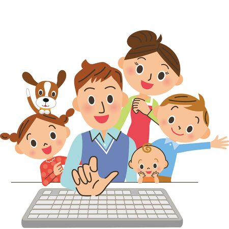 Dad operates PC