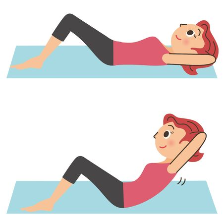 Women who do abs to resolve lack of exercise Иллюстрация