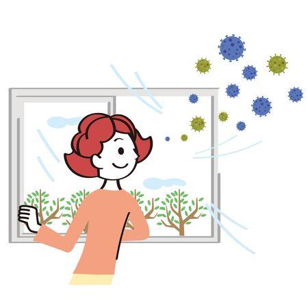 Woman removing virus from room Illustration