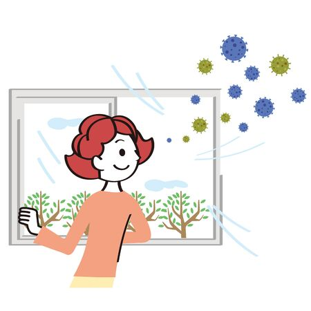 Woman removing virus from room Ilustracja