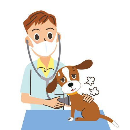 Veterinarian examining a sick pet Ilustración de vector