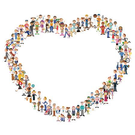 Group making heart silhouettes Ilustração