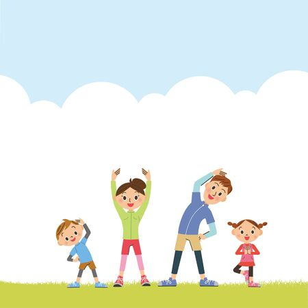 Family doing gymnastics in the park
