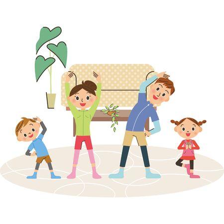 Family doing gymnastics at home
