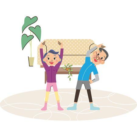 Senior couple doing gymnastics at home