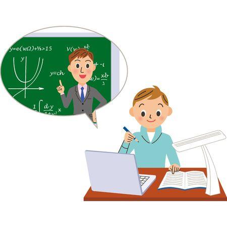 Teachers and boys teaching math online