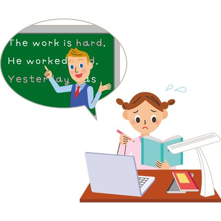 Online English conversation female male teacher illustration