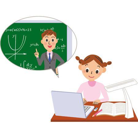 Teacher and schoolgirl teaching math online Ilustração