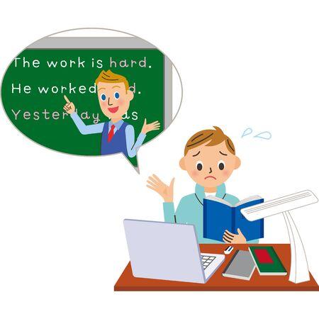 Online English conversation Male male teacher illustration