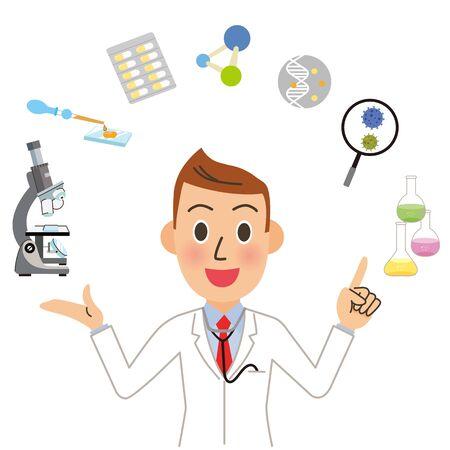 Doctor Researcher Male Medical Staff Ilustração