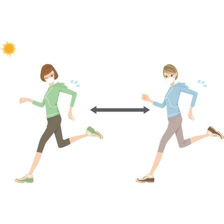 Stifling woman wearing a mask while running