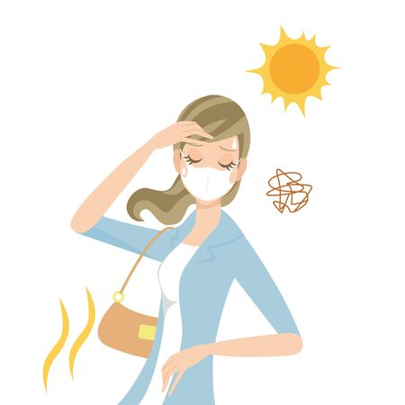 A woman wearing a mask and getting heat stroke